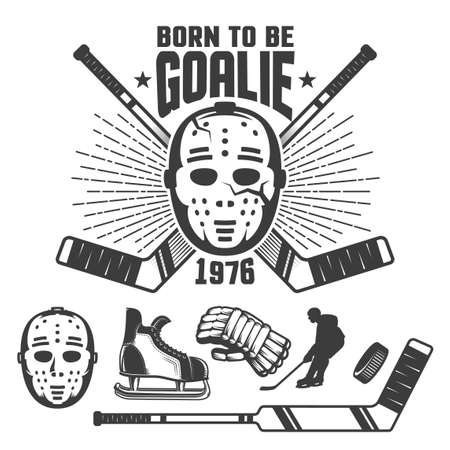 Emblème rétro de hockey avec masque et bâtons de gardien de but vintage. L'inscription est née pour être gardien de but. Banque d'images - 93244206