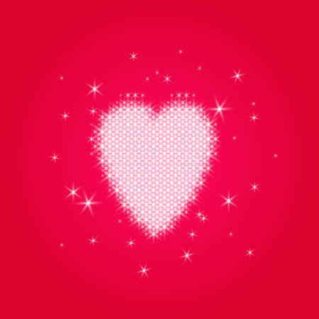 Valentines love heart of small ordered glowing sparkles on a transparent background, for example, a red gradient. Illustration
