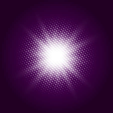 The effect of a ball of bright, luminous stars with transparent background. For example on purple gradient.