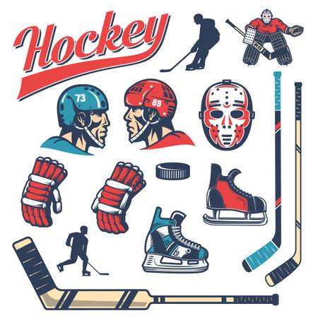 Set of hockey equipment in retro style: player head in helmet, gloves, sticks, vintage goalie mask, goalkeeper, puck, skates, silhouettes. 일러스트