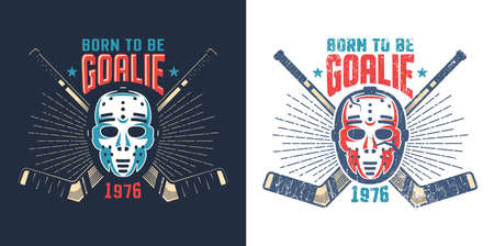 Hockey retro mask with crossed sticks and sunburst  -  vintage sports mascot. Worn texture on separate layer can be disabled.