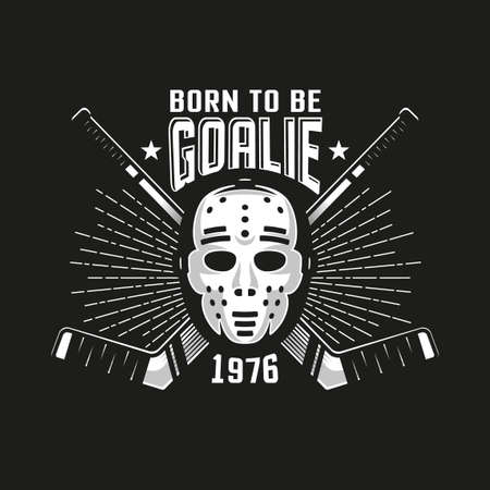 Hockey authentic retro emblem with goalkeeper mask and crossed sticks on a black background. Illustration