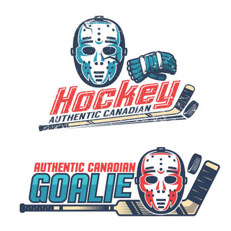 Simple vintage hockey emblems with classic goalkeeper mask, gloves, sticks from the 60s, 70s. Worn texture on separate layer can be disabled. Illustration