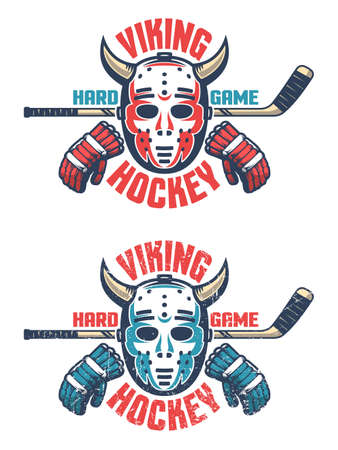 Oldschool hockey emblem -  retro goalie mask with horns, stick, gloves and an inscription Viking Hockey. Two color schemes. Worn texture on separate layer can be disabled. Çizim