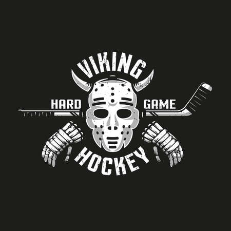Vikinghockey met een retro keepersmasker met hoorns, stok en handschoenen. Grungetextuur op afzonderlijke laag en kan worden uitgeschakeld.