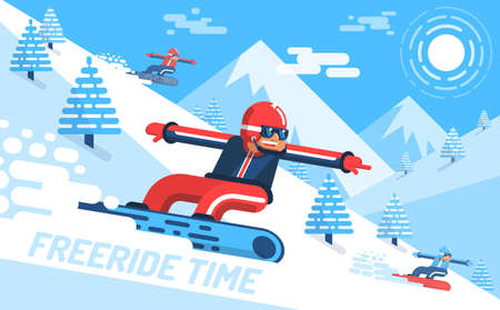 Snowboarder descends on slope of the mountain among fir trees. Free ride, bright modern flat illustration. Illustration
