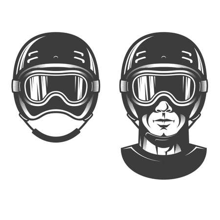 Man head in sports helmet, maybe snowboarding or racing. Old-school retro stamp style. Illustration