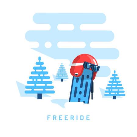 Racing helm met ski-bril op snowboard steken uit de sneeuw. Op de achtergrond, blauwe sparren, vrije rit vlakke afbeelding. Stock Illustratie