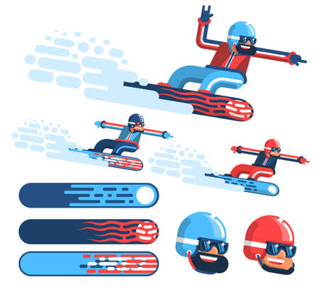 Isolated happy snowboarder rushing at speed with snow fountain. Several options for coloring the equipment. Version with beard and without.