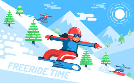 Girl snowboarder rushes down on slope among the firs - freeride. In the background, mountains. Vector illustration flat style.