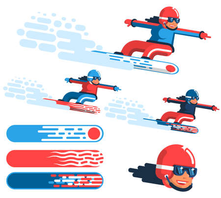 Girl snowboarder in motion - options in different outfits with drawings on the boards. Ilustracja