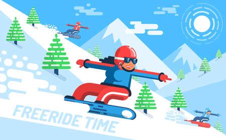 Meisje snowboarder snelt naar beneden op helling onder de sparren - gratis rit. Op de achtergrond, bergen vector illustratie vlakke stijl.