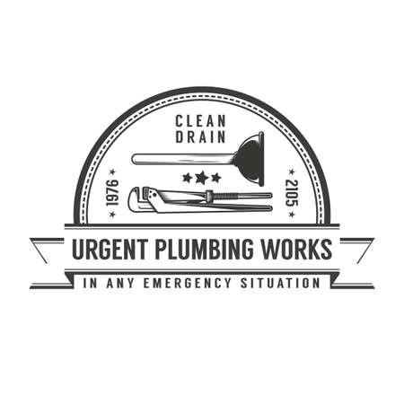 Simple retro plumbing services with plunger and pipe wrench.