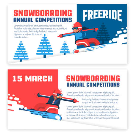 Snowboard horizontal flyers, invitations, tickets. Two design options - with snowboarder man and girl. Illustration