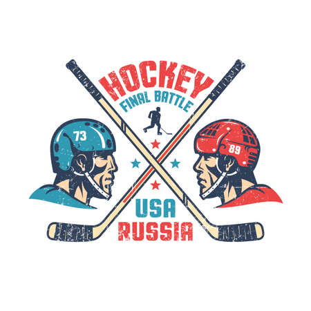 Retro poster for the final hockey match between Russia and the United States. Two players in profile, crossed sticks and inscriptions. Worn texture on separate layer and can be turned off. Illustration