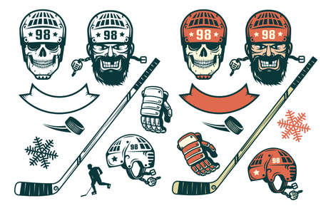 Conjunto de elementos de hockey en estilo retro - jugador barbudo, cráneo en un casco, palo, disco, silueta, guante, copo de nieve. Versión monocromática y en color.