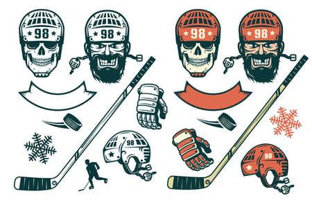 Ensemble d'éléments de hockey dans un style rétro - joueur barbu, crâne dans un casque, bâton, rondelle, silhouette, gant, flocon de neige. Version monochrome et couleur. Banque d'images - 95849315