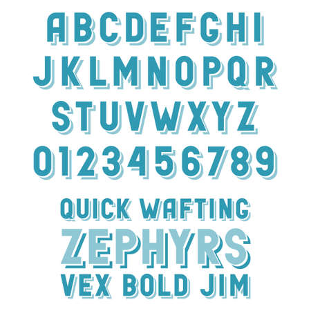 Retro alphabet with convex letters sans-serif with shadows. Simple poster header font.