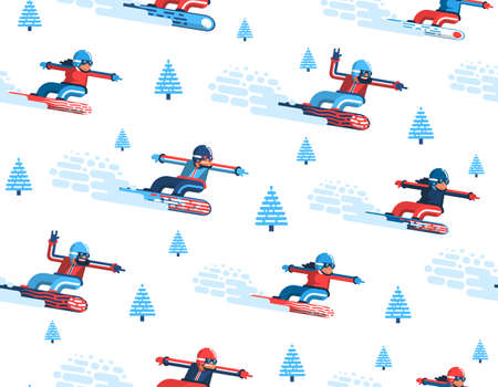 Seamless pattern with moving snowboarders and firs in a flat style. Enabled in the swatches panel. Illustration
