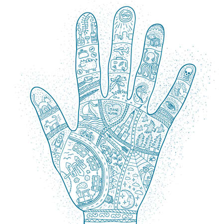 Intricate doodle drawings of the life story of  traveler in the palm of your hand. Palmistry monochrome tattoo. Illustration