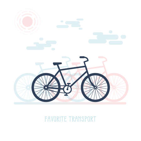 Simple illustration with a silhouette of bicycle, clouds and sun. Flat style. Illustration