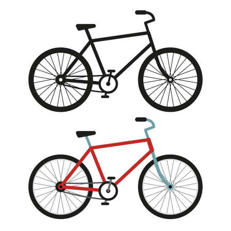 City bicycle. Black and white silhouette and color vector image.