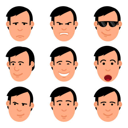 Cartoon mans head set of emoji.  Yes, no, joy, shock, resentment, anger, suspicion, cool emotions. Illustration