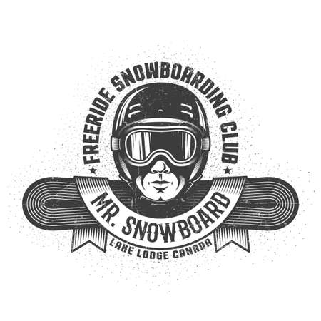 Snowboarding logo with mans head in helmet and goggles, snowboard and heraldic ribbon. Retro style. Worn texture and dots on separate layers and can be disabled.