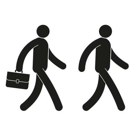 Pictograma icono hombre camina con un maletín y sin él.