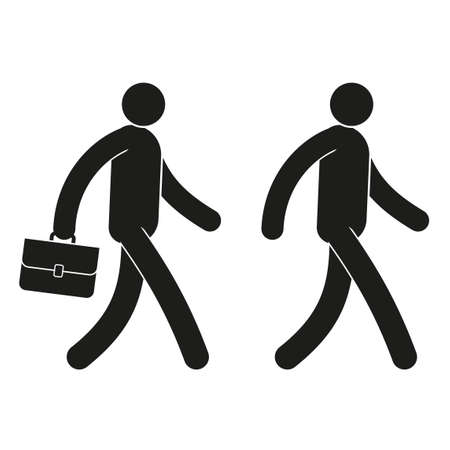 Pictogram icon man walks with a briefcase and without.