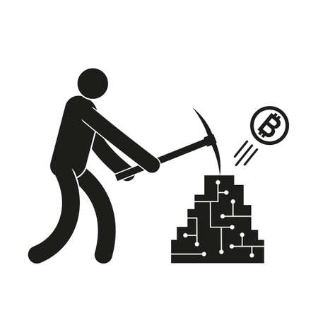 Pictogram man with a pickaxe mining crypto currency bitcoin.