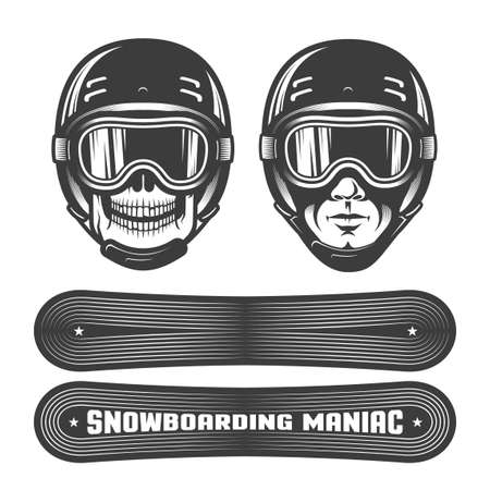 Skull and a mans head in  sports helmet with goggles. Two snowboards with different images. Stamp retro style. Illustration
