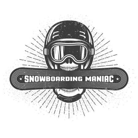 Schedel die sporthelm en skibril draagt en een snowboard in wijd open mond houdt