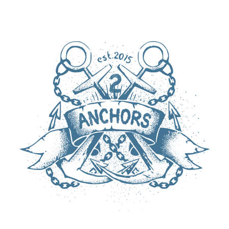 Careless shabby emblem, tattoo with two crossed anchors, chain and heraldic ribbon. Text on separate layer and can be disabled.