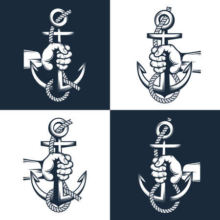 Sailor hand holds an anchor with rope -  nautical sign,  tattoo. Two options on dark and light background.