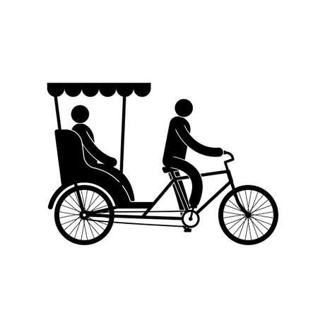 運転手と乗客とペディキャブのピクトグラム  イラスト・ベクター素材