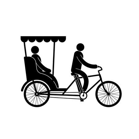 Pictogram of a pedicab with  driver and passenger Vectores