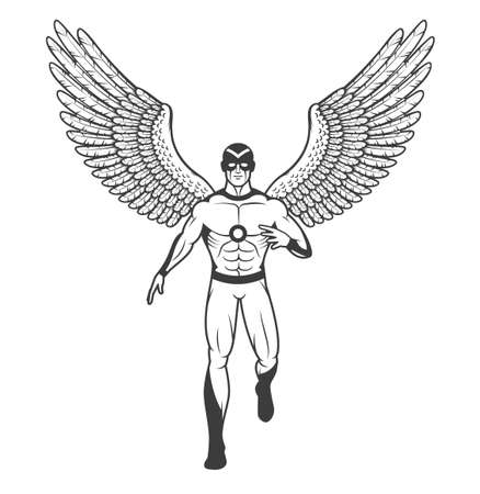 Superhero in a tight suit and mask with outstretched birds wings. Drawing in comic book style. Illustration
