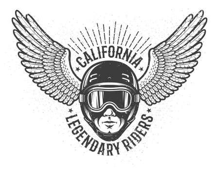Head of the rider in helmet and sports goggles with wings on the sides - vintage emblem. Worn texture on separate layers and can be disabled. Illustration