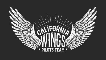 Pilot club retro icon - wings with inscriptions on black background. Worn texture on separate layers and can be disabled.