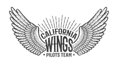 Retro emblem of the club of pilots with outstretched wings. Monochrome on a white background. Worn texture on separate layer and can be easily disabled. Illustration