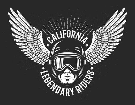 Retro logo of the legendary California riders. Head of the racer in sports helmet and glasses and the outstretched wings of an eagle in the background.