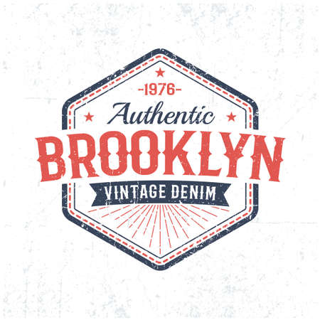 Brooklyn authentic vintage emblem in American classic style. Grunge worn textures on separate layer and easily turn off.