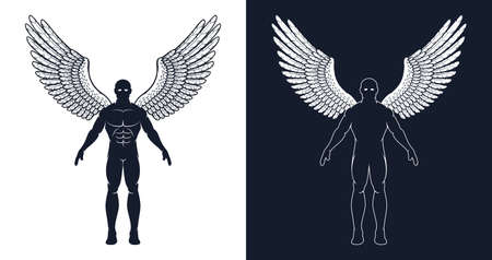 Muscular man with wings is like a superhero or a dark angel. Silhouette of an athletic man. Çizim