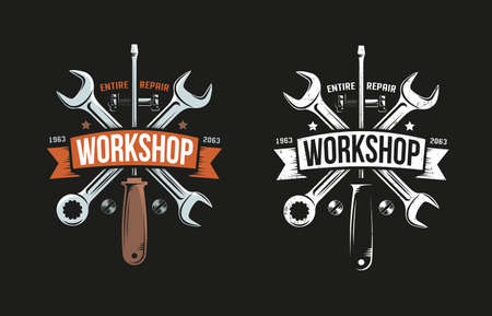 Workshop retro logo with wrench, screwdriver and heraldic ribbon. Black background. Color and monochrome versions. Grunge worn texture on separate layer and easily turn off.