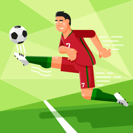 Portuguese football player in a red uniform is hitting the soccer ball vector illustration in a flat style. Illustration