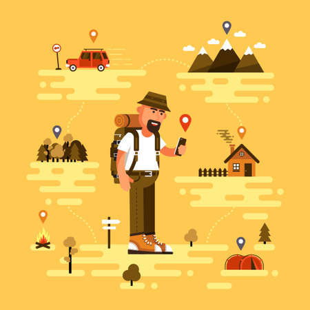 Bearded traveling tourist uses smartphone to find location. Icons of GPS, car, mountains with clouds, tent, fire, forest and country house vector illustration.