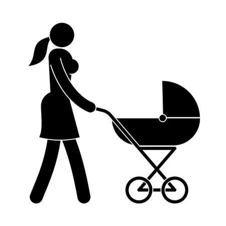 Pictogram woman with a baby stroller. Mother's icon.