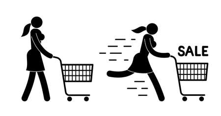 Pictogram  woman walking with  shopping cart. Icon of girl running for sale.
