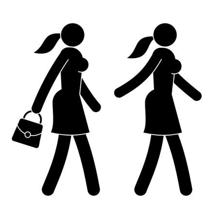 Icon of walking woman - with her handbag and without.